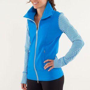 Lululemon Daily Yoga Striped Blue Full Zip Jacket